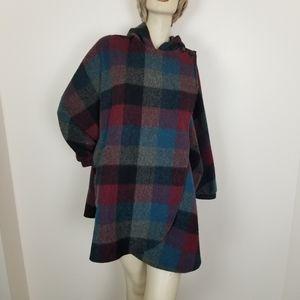 Vintage wool blend plaid hooded dolman Jacket